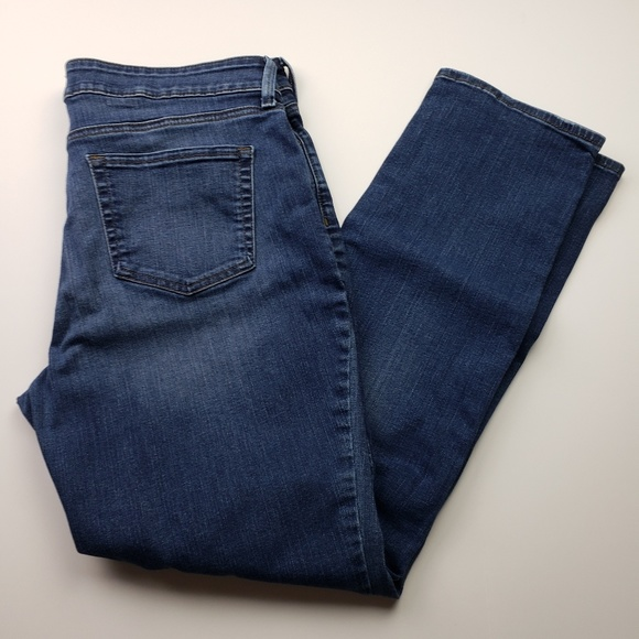NYDJ Denim - NYDJ Sheri Slim Straight Dark Wash Jeans 14
